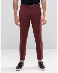 Lindbergh - Cropped Casual Trouser In Burgundy - Lyst