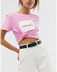 Calvin Klein - Leather Logo Belt - Lyst