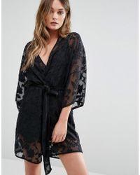 Y.A.S - Black Sheer Rose Kimono - Lyst