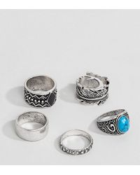 ASOS - Design Plus Chunky Ring Pack In Burnished Silver With Feather And Turquoise Stone - Lyst