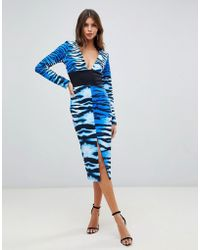 True Violet - Plunge Front Midi Dress In Tiger Print - Lyst