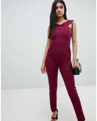 AX Paris - Cross Front Fitted Jumpsuit - Lyst