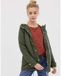 New Look - Faux Borg Lined Parka - Lyst