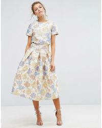 True Decadence | Floral Midi Skirt In Jacquard Co Ord | Lyst