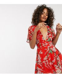 Missguided Plunge Playsuit In Floral Print - Red