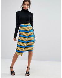 Liquorish - Striped Wrap Midi Skirt With D Ring - Lyst
