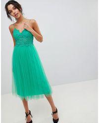 ASOS - Premium Lace Cami Top Tulle Midi Dress - Lyst