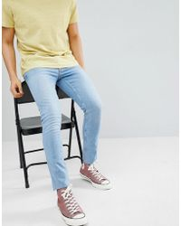River Island - Skinny Jeans With Raw Hem In Light Wash Blue - Lyst