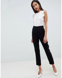 Reiss - Suzy Jumpsuit With Lace Bodice - Lyst