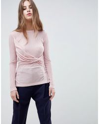 French Connection - Twist Detail Jersey Top - Lyst