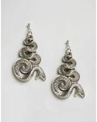 Regal Rose   Malice Huge Snake Earrings - Silver   Lyst