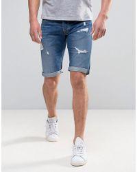 Pepe Jeans - Pepe Cash Regular Fit Denim Short Medium Destroyed Wash - Lyst