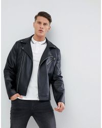 ASOS - Design Leather Look Biker Jacket In Black - Lyst