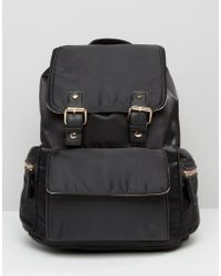 Miss Selfridge - Buckle Detail Backpack - Black - Lyst