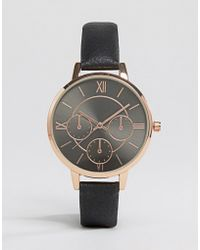New Look - Black Leather Look Watch - Lyst