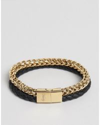 Vitaly - Tzu Chain & Leather Bracelet In Gold/black - Lyst