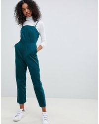 acb971fc458 Lyst - ASOS Cord Wide Leg Belted Jumpsuit in Blue