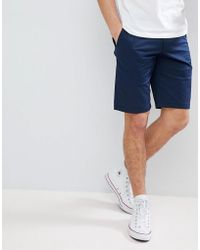 HUGO - Slim Fit Chino Shorts In Navy - Lyst