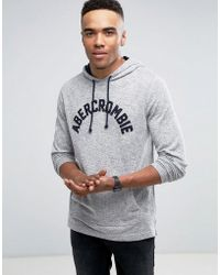 Abercrombie & Fitch | Long Sleeve Top Hooded Front Logo In Grey | Lyst