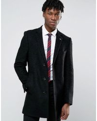 Original Penguin - Penguin Formal Black Boucle Overcoat - Lyst