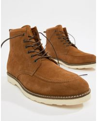ASOS - Lace Up Boots In Tan Suede With White Wedge Sole - Lyst