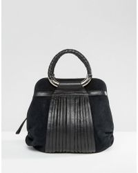 Ri2k - Leather And Suede Mix Bag - Black - Lyst