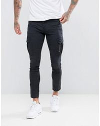11 Degrees - Skinny Cargo Joggers In Black - Lyst