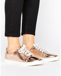 Lost Ink - Paige Rose Gold Toe Cap Plimsolls - Lyst