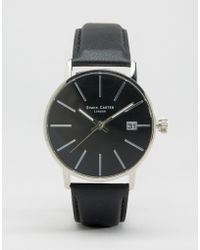 Simon Carter - Black Leather Watch With Black Dial - Lyst