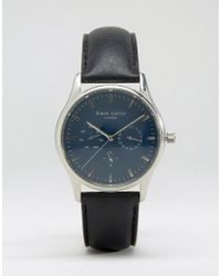 Simon Carter - Black Leather Chronograph Watch With Blue Dial - Black - Lyst
