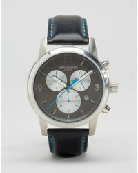 Simon Carter - Leather Chronograph Watch With Grey Dial - Black - Lyst