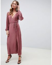 ASOS - Chevron Plisse Maxi Dress With Self Belt - Lyst