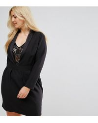 ASOS - Tux Dress With Lace Insert - Lyst