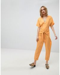 Free People - Shining Sun Tie- Up Jumpsuit - Lyst
