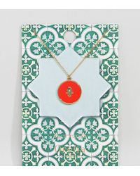 Orelia - Gold Plated Enamel Hamsa Hand Necklace - Lyst