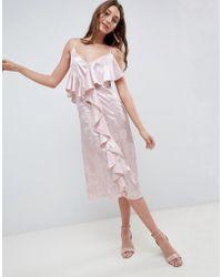 eecb6810328c ASOS Wedding Bardot Navy Floral Off Shoulder Pencil Dress - Multi in ...