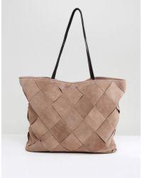 ASOS - Suede Weave Shopper Bag - Lyst
