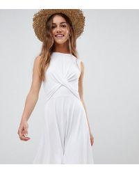 ASOS - Asos Design Petite Twist Front Skater Dress - Lyst