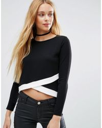 Daisy Street - White Trim Sweatshirt - Lyst