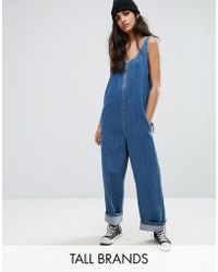 Noisy May Tall - Denim Jumpsuit With Zip Front Detail - Lyst