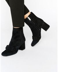 Warehouse - Suede Bow Detail Heeled Ankle Boot - Lyst