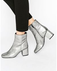 Warehouse - Metallic Heeled Ankle Boot - Lyst