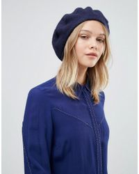 Warehouse - Wool Beret Hat - Navy - Lyst