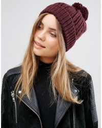 Warehouse - Cable Knit Hat - Berry - Lyst