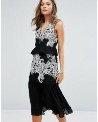 Foxiedox - Embroidered Tiered Ruffle Midi Dress - Lyst