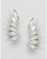 Krystal - Swarovski Crystal Wing Earcuff Earrings - Silver - Lyst