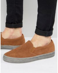 ASOS - Slip On Plimsolls In Tan Faux Suede With Distressed Sole - Lyst