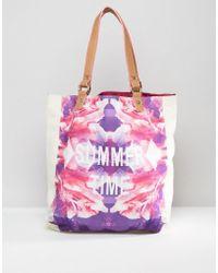 South Beach - Summer Time Floral And Neon Print Beach Bag - Lyst