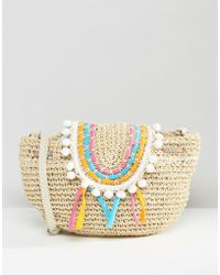 South Beach - Straw Bag With Staw Piping And Pom Pom Trim - Lyst