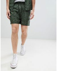Another Influence - Co-ord Khaki Print Viscose Shorts - Lyst